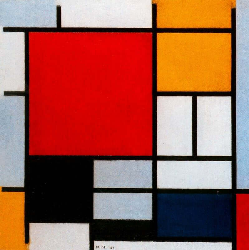 Composition with Large Red Plane, Yellow, Black, Gray, and Blue, 1921 by Piet Mondrian