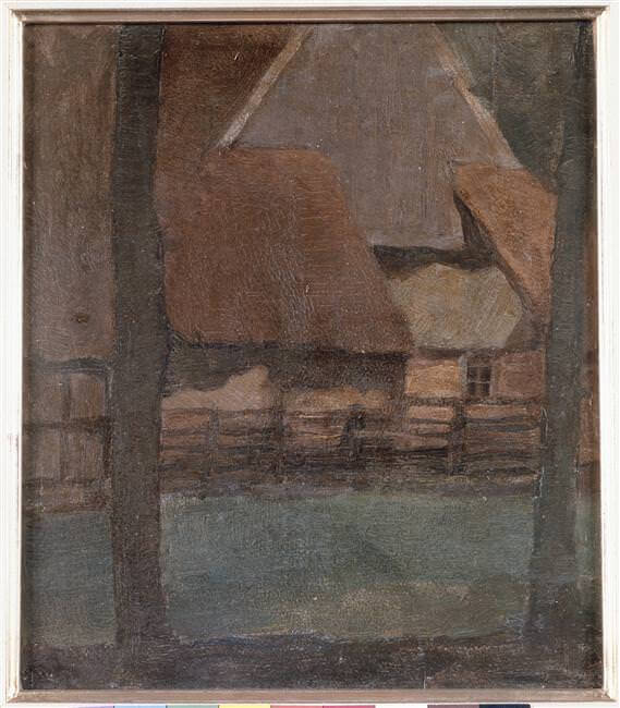 Gable farm with trees - by Piet Mondrian
