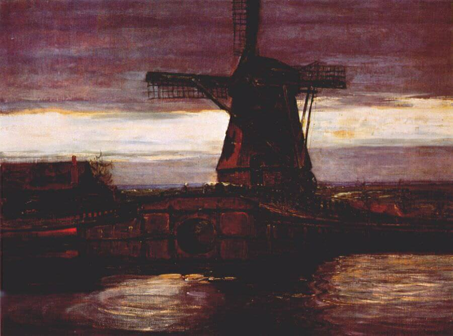 Stammer mill with streaked sky 1906 - by Piet Mondrian