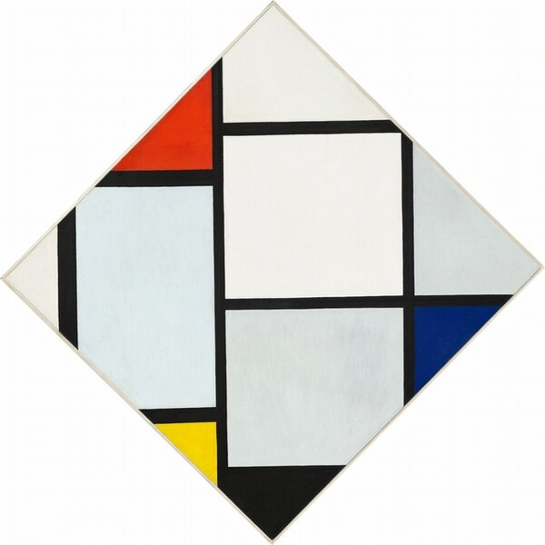 Tableau No. IV: Lozenge Composition with Red, Gray, Blue, Yellow, and Black by Piet Mondrian